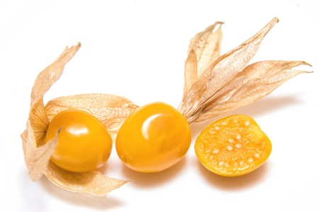 phisalis: Physalis group closeup isolated on white background.