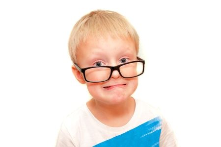 difficult task: Little  boy in big glasses have stress, isolated on white.