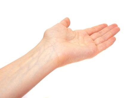 Female showing hand isolated on white background. Stock Photo - 17695087