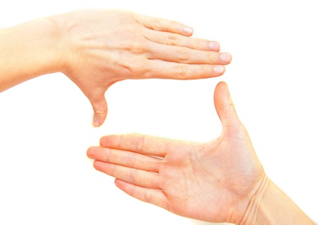 cinematographer: Female hands making frame isolated on  white background