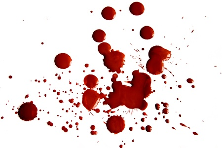 spatters: Macchie di sangue isolato su sfondo bianco