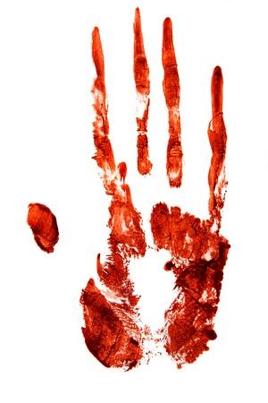 sangre derramada: Impresi�n de la mano sangrienta aislado sobre fondo blanco