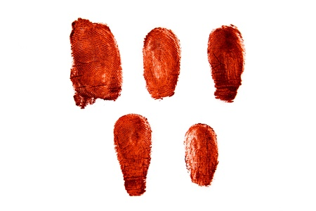 Bloody fingerprints isolated on white background Stock Photo - 17805593