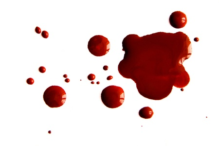 cut and blood: Blood stains isolated on white background