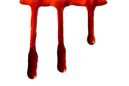 Blood stains isolated on white background photo