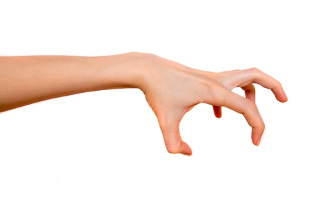 clawing: Spaventoso, terrificante mano isolato su sfondo bianco