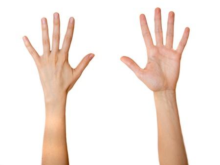 ambos: Mujer palmas abiertas ambas partes aisladas sobre fondo blanco.
