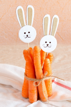 Carrots and paper rabbits photo