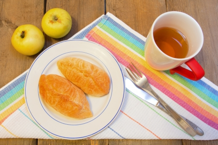 Homemade patties on the plate with juice and apples photo