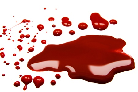 Blood  stains (puddle) isolated on white background. photo