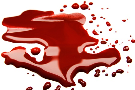 Blood  stains (puddle) isolated on white background. Stock Photo - 18541364
