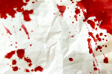 Crumpled old paper texture with blood splatter (stains, droplets) frame close up, horizontal, blank, copy space
