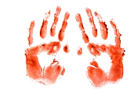 Bloodly red hand prints pair isolated on white background. photo