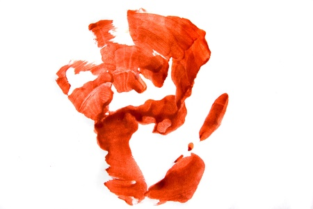 Bloodly red hand print isolated on white background. photo