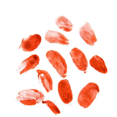 blood stain: Bloodly red finger prints isolated on white background (set, setting)