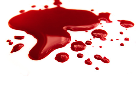 Blood stains (puddle) isolated on white background close up, horizontal Stock Photo