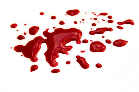 Bloedvlekken (plas, druppels) op een witte achtergrond close-up, horizontaal Stockfoto - 39336508