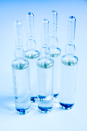 ampoules: Medical ampoules for vaccination or injections, close up, selective focus