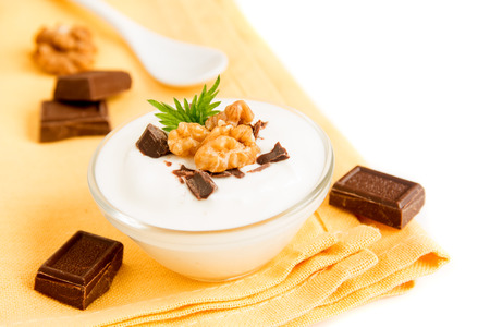 chocolate mint: Plain Organic Yogurt with Some Chocolate, Mint and Nuts in Bowl. Homemade dessert isolated on white background close up.
