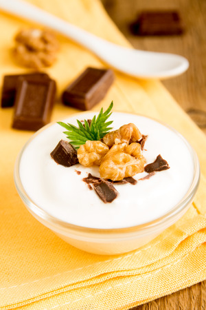 stracciatella: Plain Organic Yogurt with Some Chocolate, Mint and Nuts in Bowl. Homemade dessert close up. Stock Photo
