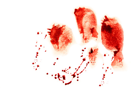 blood smear: Bloody red finger prints with droplets isolated on white background (set, setting)