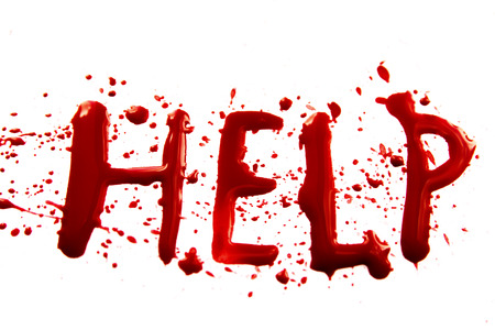 bloodstains: Bloody word Help with splatters, dropplets, stains isolated on white backround