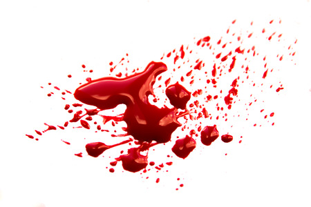 Blood stains (puddle, pool, splatter, smear) isolated on white background close up, horizontal Stock Photo - 40448573