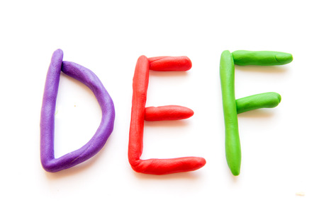 def: plasticine letters DEF isolated on white background Stock Photo