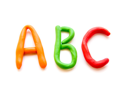 plasticine letters ABC isolated on white background Stock Photo