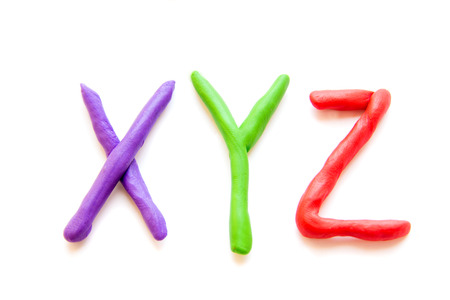 xyz: plasticine letters XYZ isolated on white background Stock Photo