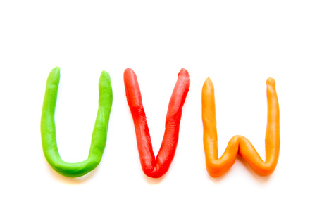 plasticine letters UVW isolated on white background Stock Photo