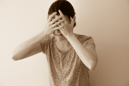 abuse young woman: Crying depessed sad abuse young woman, dramatic portrait Stock Photo