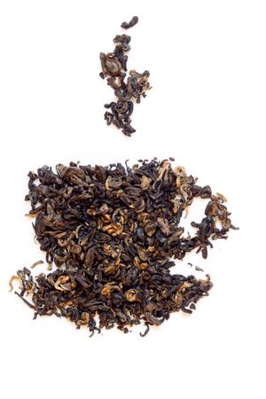 high tea: Dry elite black tea cup shape isolated on white background