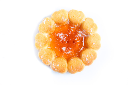 flower shape: Cookie with fruit orange jelly isolated on white background