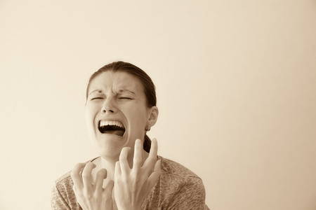 Crying depessed hysterical abuse woman, dramatic portrait Stock Photo