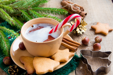 peppermint candy: Hot chocolate with peppermint candy canes and gingerbread cookies on rustic wooden table for Christmas and winter holidays