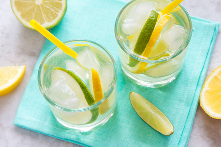tonic: alcoholic drink (gin and tonic) with lemon, lime and ice Stock Photo