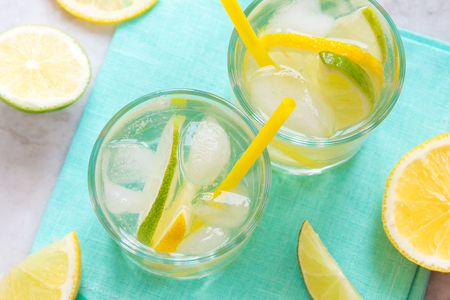 alcoholic drinks: alcoholic drink (gin and tonic) with lemon, lime and ice Stock Photo