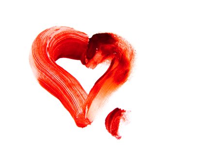 martyrdom: Bloody heart shape stain (smear) isolated on white background Stock Photo