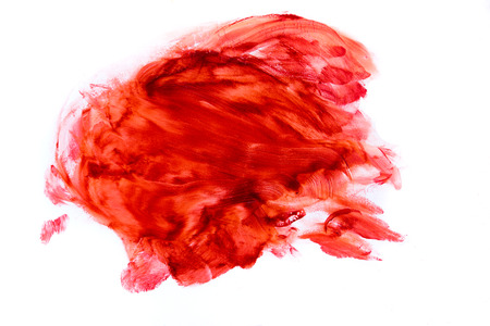blood smear: Blood stains (puddle, smear) isolated on white background close up, horizontal
