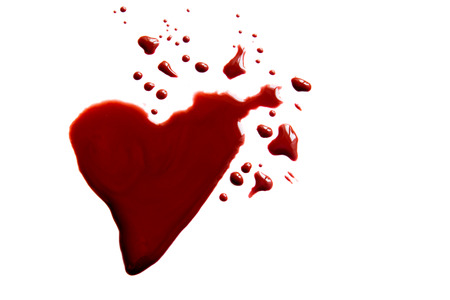 stain: Bloody heart shape puddle (splatter) isolated on white background