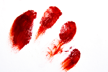 'paint splatter': Bloodly red finger prints isolated on white background (set, setting)