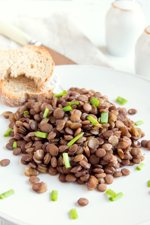 green lentil: Green lentil on plate, ready to eat