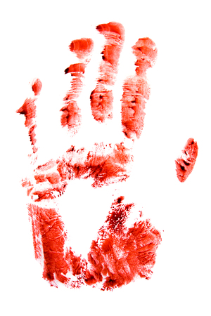 bloody hand print: Bloody red hand and fingers print isolated on white background.