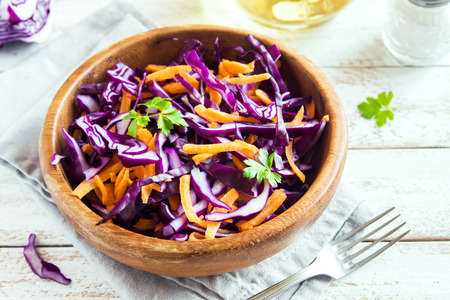 Red Cabbage Coleslaw Salad with Carrots and Greens - healthy diet, detox, vegan, vegetarian, vegetable spring salad