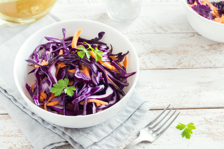 Red Cabbage Coleslaw Salad with Carrots and Parsley - healthy diet, detox, vegan, vegetarian, vegetable spring salad