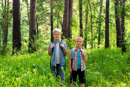 Children with backpacks walking in a summer forest, go hiking and having fun outdoor Stock Photo