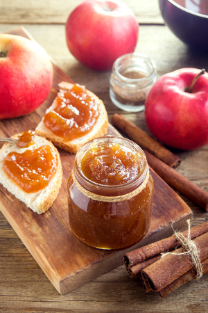 Homemade Sweet Apple Butter with Cinnamon - organic healthy vegetarian food. Apple Jam. Apple Marmalade. Stock Photo - 80005453