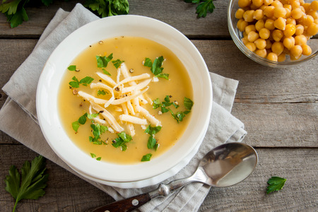 Homemade Chickpea Soup with Cheese and Parsley - healthy organic vegetarian diet vegetable protein lunch meal food soup