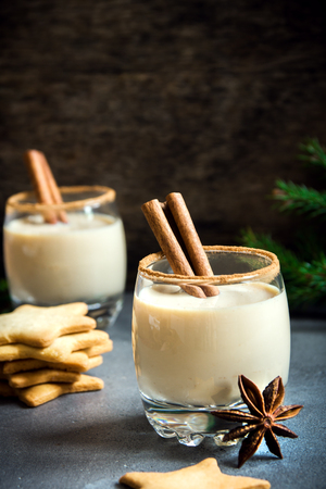 Eggnog with cinnamon and nutmeg for Christmas and winter holidays. Homemade eggnog in glass with spicy rim. Stock Photo